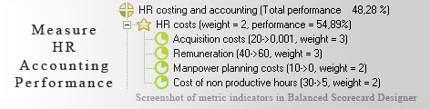HR accounting Balanced Scorecard KPI - Balanced Scorecard metrics template example